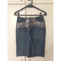 Saia Lápis Jeans Com Paetes Sem Cós Carmim Tam.24 Veste34-36