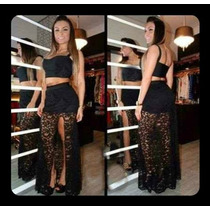 Saia De Fenda Renda + Top Cropped Natal Reveillon Final Ano