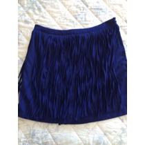 Saia Azul Com Franjas Zara