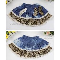 Mini Saia Infantil Jeans Animal Print Laço Festa (2/5 Anos)