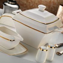 Aparelho De Jantar Porcelana/ Ar20030 Quadrado Bone 87 Peç