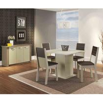 Conjunto Sala De Jantar Vega 4 Cadeiras Madesa Amendoa/