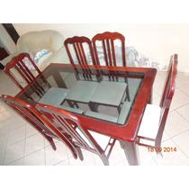 Mesa De Jantar Madeira C Tampo De Vidro 6 Cadeiras