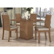 Conjunto Sala De Jantar Lopas Mesa Tampo Vidro 4 Cadeiras