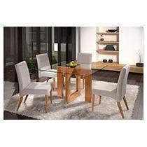 Sala De Jantar 4 Cadeiras+mesa, Decoração Apt Casa Poltrona