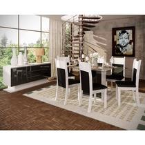 Sala De Jantar Nebraska Mesa Vidro Branco/preto E 6 Cadeiras