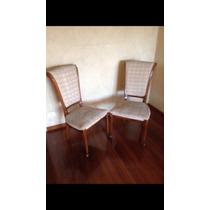 Conjunto De Seis Cadeira De Encosto Alto De Madeira E Tecido