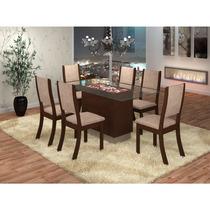 Sala De Jantar Sany Com Tampo De Vidro + 6 Cadeiras Viero