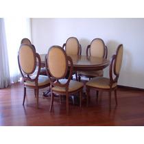 Mesa + 6 Cadeiras Sala De Jantar Scarlato Em Imbuia Maciça