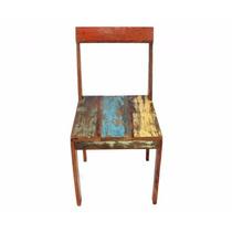 Cadeira Maciça Em Madeira De Demolição Acabamento Na Cera