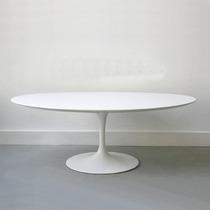 Mesa De Jantar Oval Saarinen 160x90 Laqueada Branca Ou Preto