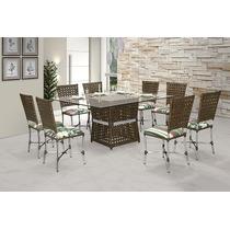 Mesa + 8 Cadeiras Sala De Jantar Área Gourmet Em Alumínio