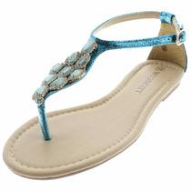 Sandália Rasteira Moocity Azul Pedras Strass Fashion Brilho