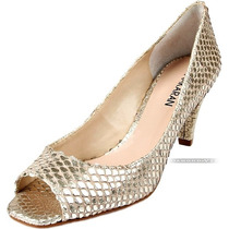 Nº 38 Sapato Peep Toe Ana Karan Couro Legítimo Dourado Cobra