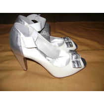 Sapato Lia Line Prata Com Branco Verniz T. 38 Novo