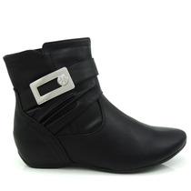 Bota Ankle Boot Comfortflex 1591303 - Preto - Olfer Calçados
