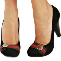 Sapato Scarpin Couro Legítimo Preto Vermelho Verde Boneca 37