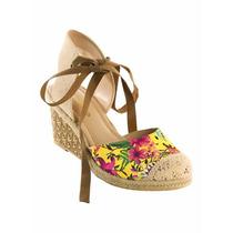 Espadrille Sandalia Anabela Salto Plataforma Floral Peep Toe