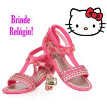 Sandália Hello Kitty Rosa Grendene Brinde Relógio 21329
