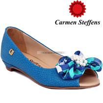 37 Sapato Peep Toe Carmen Steffens Azul Turquesa Perola Cour