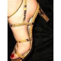 Sandalia Grife Americana Saks Fifth Avenue Cobra Snake