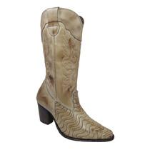 Bota Texana Feminina Couro Rodeio Boots Frete Grátis