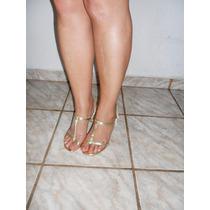 Linda E Sexy Sandalia Dourada Nova Nº 35 Nunca Usada