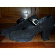 Sapato Em Camurça Preto 36 Da Show Rio- Couro Camurça