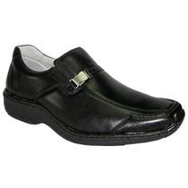 Sapato Antistress Preto Masculino Couro Pelica Frete Grátis