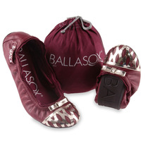 Sapatilha Ballasox Diana Metal Specchio Vinho R Gold 15% Des
