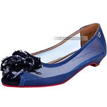 Sapatilha Peep Toe Carmen Steffens Couro Azul Jeans Nº 38