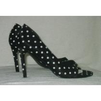 Sapato Scarpin Cetim Preto Com Bolas Brancas Nº 36 - Lindo!
