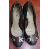 Sapato Scarpin Meia Pata Couro Verde Escuro Via Lins Tam 36