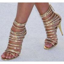 Sandalia Dourada Importada Strass (consulte A Entrega)