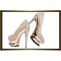 Sapato Em Crystais Multicolors Importado - Tam 35br Novo