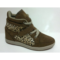 Sneaker Onça / Marrom - Velcro E Cadarço. Frete Grátis