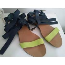 Rasteira City Shoes - Marinho Com Pistache ( Em Couro )