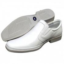 Sapato Branco Confort Relax Macio Gel Flexivel Casual Couro