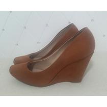 Scarpin Caramelo Salto Anabela Tam 37 Usado Sapato Sandalia