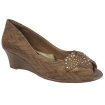 Sapato Peep Toe Comfortflex Anabela 1492334 Avelã