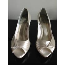 Sapato De Noiva Peep Toe, Off-white (34)