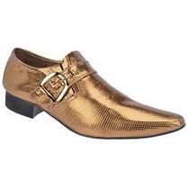 Sapato Ebenezer Cobra Ouro Luxo.couro Legitimo Feito A Mão