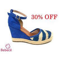 30% Off Sandália Anabela Bebecê Azul Marinheira 9111-425