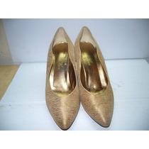90 X - Scarpan Dourado Couro/tecido Nº36 Dina Toar