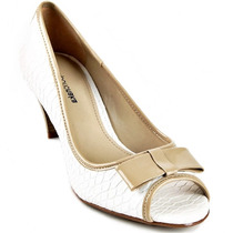 Sapato Peep Toe Emporio Naka Branco Bege Couro Laço Nº 38
