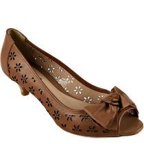 N 37 38 Sapato Peep Toe Emporio Naka Couro Legítimo Caramelo