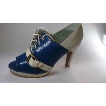 Sapato Salto Alto Feminino Dália - Veniz Vermelho E Azul