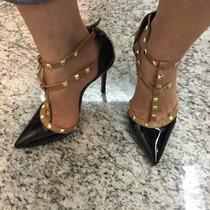 Scarpin Salto Alto Bico Fino Tiras Perna Marca Leluel Shoes