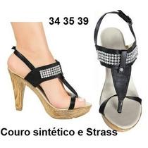 Sandalia Salto Plataforma Alto Strass Brilho Festa Balada