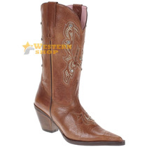 Bota Texana Feminina Caramelo C/ Rebites E Strass - Goyazes